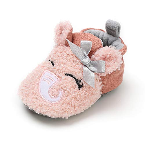 LACOFIA Scarpe Invernali da Bambina Stivaletti neonata con Suola Morbida Antiscivolo Rosa 3-6 Mesi