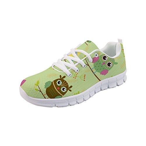 HUGS IDEA Cute Owl Running Shoes Atmungsaktive leichte Leichtathletik-Laufschuhe für Damen - EU 43