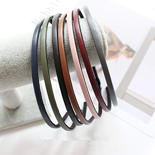 Cute Solid Simple Leather Covered Party Headband Hair Bows Hair Loop Clasp Glitter Hairbands for Women and Girls