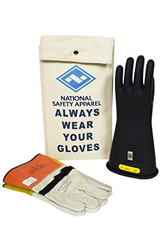 National Safety Apparel KITGC2B09 Class 2 Black Rubber Voltage Insulating Glove Kit with Leather Protectors, Max. Use Voltage 17,000V AC/ 25,500V DC (KITGC209)