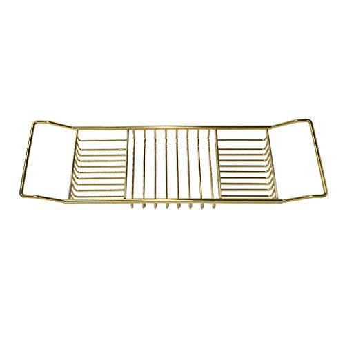 Ponts de baignoire Étagère de baignoire étagère rétractable rack multifonctions panier de baignoire artefact de bain salle de bains (Color : Gold, Size : 62-82 * 20cm)