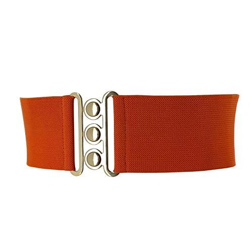 Fashiongen - Cinturón Ancha Elástico para mujer GLORIA - Naranja (Dorado), Medium / 38 a 40