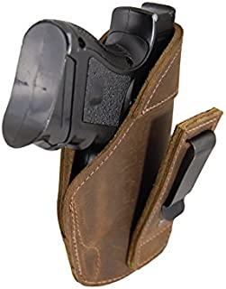 Barsony New Brown Leather Tuckable IWB Holster for Compact Sub-Compact 9mm 40 45