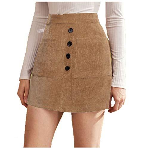 TUDUZ Mujer Falda Ajustada Minifalda Bolso De Color Sólido Falda De Bolsillo con Botón De Cadera (Caqui, L)