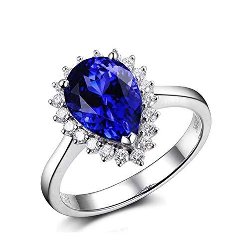 Bishilin Oro Blanco 18K Banda de Anillo de Mujer Azul Tansanitagota de Agua Tanzanita 2.12Ct Diamante 0.28Ct Anillo Brillantes Mujer Azul Plateado Anillo de Compromiso de Boda para Mujer Talla:12