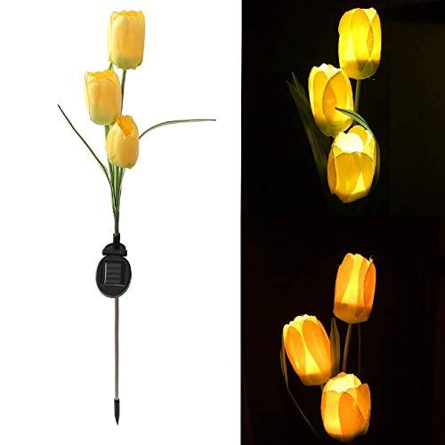 Gwill Tulipán Solar para Exteriores, luz LED de Flores, estaca de jardín Solar, lámpara Solar Decorativa para Patio, Paisaje en el Suelo, Luces de Flores (Amarillo)