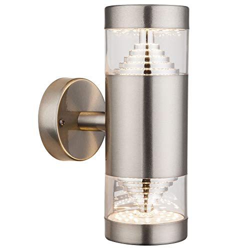 LED Außen Wand Lampe Fassaden Garten Leuchte UP DOWN Edelstahl Strahler klar Globo 34200W