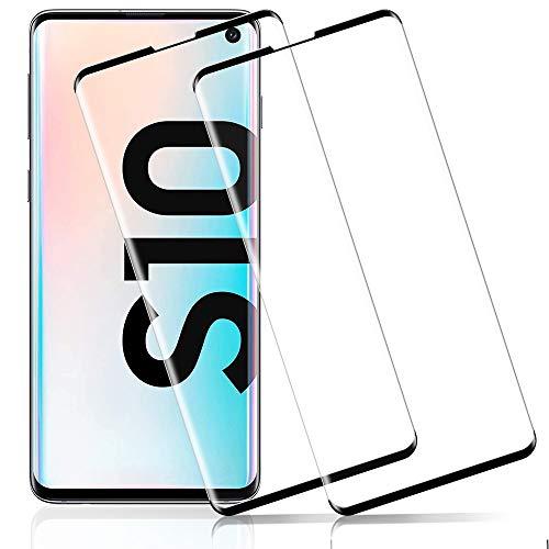 Flysee Verre Trempé pour Samsung S10, [2 Pièces] Protection écran pour Samsung Galaxy S10 [Couverture 3D, Anti Rayures, 9H Dureté, Sans Bulles, Installation Facile, Haute Sensibilité]