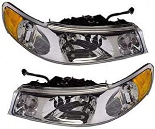 Headlight Compatible with 1998-2002 Lincoln Town Car Pair with Bulbs Clear Lens