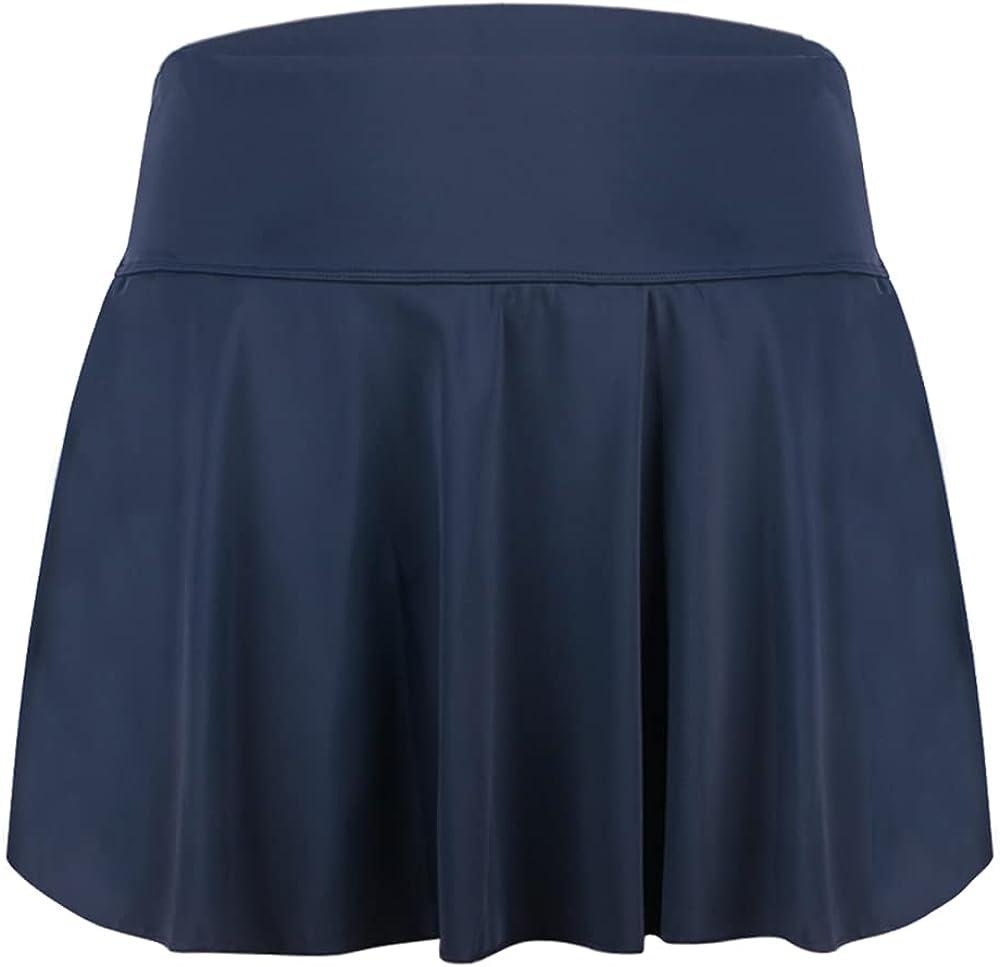 KEEPRONE Womens Plus Size Swimsuit Skirt High Waist Swim Skirted Swimwear Bottom
