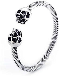 Trendy Skull Bangle for Men Unisex Open Punk Bangle