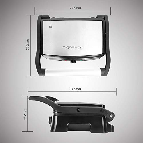 Aigostar Hitte 30HFA - Grill multifonction, plancha, presse à paninis, appareil à sandwichs. 1500W, plaques anti-adhésives, ouverture à 180º, intensité réglable, monture froide. Couleur argent.