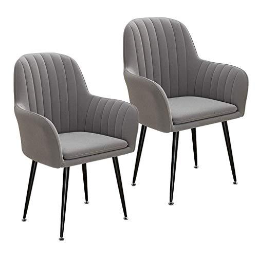 Mid Century Modern Kitchen Beistellstuhl, Samt Esszimmerstuhl 2er-Set, Freizeit Sessel Wohnzimmer Sofa Stuhl, waschbarer Kissensitz (Farbe: Grau)