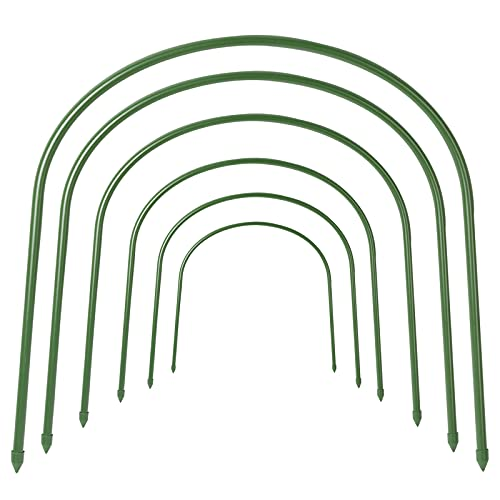 FOTMISHU 6Pcs Greenhouse Hoops Rust-Free Grow Tunnel Tunnel, 4ft Long Steel with Plastic Coated...