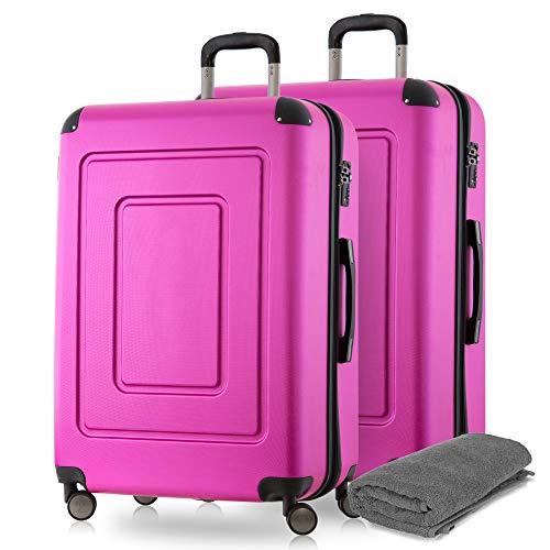 Happy Trolley - 2er Koffer-Set Trolley-Set Rollkoffer Hartschalen-Koffer Reisekoffer Lugano sehr leicht, TSA, 66 cm, 78L, (2xM), Pink +Badehandtuch
