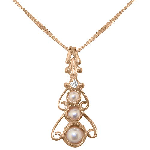 9ct Rose Gold Pendant & Chain Necklace with Cultured Pearl & Cubic Zirconia Womens Bohemian Pendant & Chain Necklace - Chain length 16