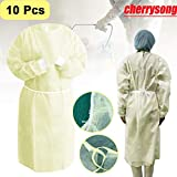 CHERRYSONG Isolation Gowns, Disposable Gowns,Yellow Protective Gowns, Examination Gowns, Knit Cuff Non Woven, Fluid Resistant,one Size fits All(10 Packs, Light Yellow)