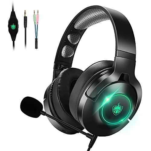PHOINIKAS Cuffie wired Gaming PS4, Cuffie da Gioco con Microfono per Xbox One, PC, Switch, Cuffie Wireless Bluetooth con surround 7.1 per bassi, Ruotabile Ear Cups, Luce LED - Verde