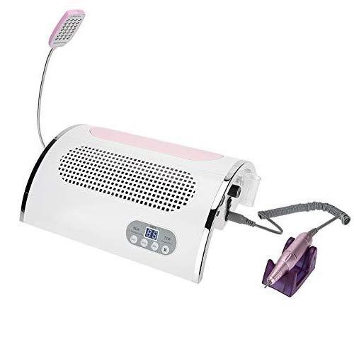 Brrnoo 3 IN 1 Multifunktionale Maniküre Maschine, Elektrischer Nagelfräser 25000 U/min 54W Nageltrockner Nagelstudio Staubabsaugung Tischabsaugung LED Beleuchtung