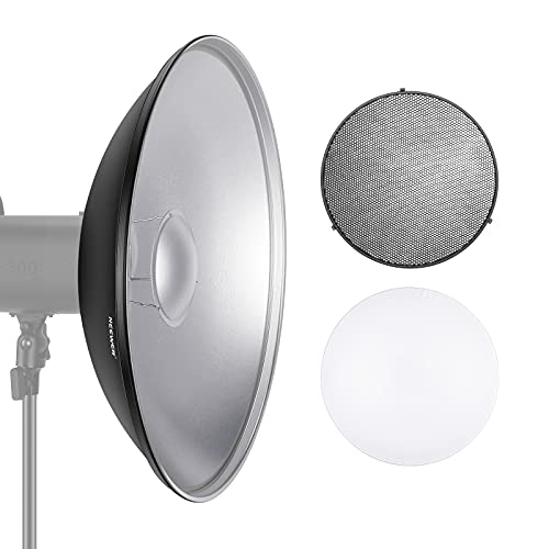 Neewer Photo Studio Strobe Flash Light Reflector Beauty Dish with Honeycomb Grid and Scrim, 21.6 inches/55 Centimeters for Bowens Standard and More