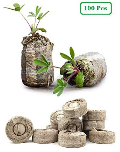 ZeeDix 100 Pcs (30mm) Peat Pellet Fiber Soil Plant Seed Starters - Plugs Pallet Seedling Soil Block,...