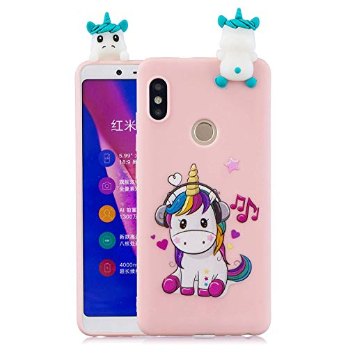 LAXIN Cute 3D Music Unicorn Case for Xiaomi Redmi Note 5 Pro ,Ultra Slim Fit Soft Silicone Gel Bumper Shockproof Protective Cartoon Phone Case with Lovely Animal Pattern for Xiaomi Redmi Note