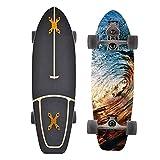 XKAI Tabla Completa de Surfskate 75×23cm Skateboards de Madera de Arce Longboard ABEC-11 Rodamientos de Bolas Pumping Fancy Board para Principiantes y Adultos Infinitos, Monopatin Truck CX4