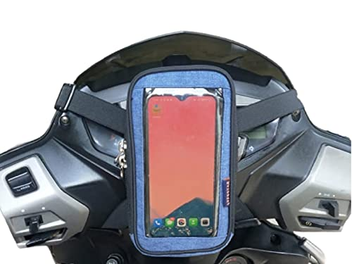 LYF5STAR Universal Mobile Holder Pouch for Easy Maps and Navigation, Suitable For All Scooters / Scooties Activa, Ather , Access, Aprilia, Duet, Fascino, Grazia, Jupiter, Maestro, Ntorq, Pleasure, Vespa Scooter accessories - Supports Smartphones upto 6.5 inches – Blue Color