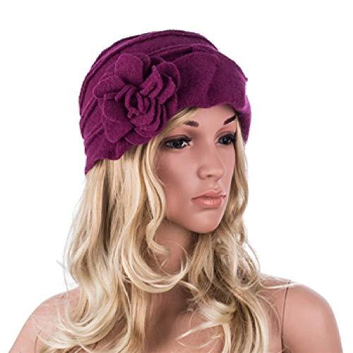 Barett Cap Elegante Damenmützen Im Stil Der 1920Er Jahre Winter Beret Beanie Hüte Für Damen Bucket Cloche Cap Warme Hüte-Dark_Purple