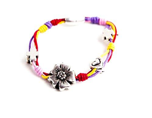 Kokomorocco armband met bloemen, hartjes en kruisjes, zilver met kleurrijke draden, voor dames of meisjes, magneetsluiting, originele geschenken