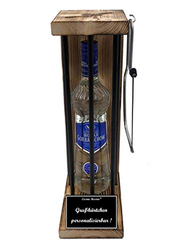 * Personalisierbar Die Eiserne Reserve ® Black Edition mit Wodka Gorbatschow 0,70L incl. Bügelsäge zum zersägen der Stäbe - Die lustige Geschenkidee.