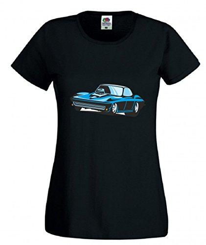 Camiseta azul Hot Rod Sportwagen Oldtimer Young Timer America Amy USA Auto Car Ampliación V8 V12 Motor Llanta Tuning Mustang Cobra para hombre mujer niños de 104 – 5XL Negro  Talla del hombre: 4X-Large