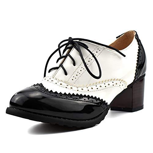 100FIXEO Women Patent Leather Block Heel Wingtip Oxford Shoes (8 M US, Black 4)