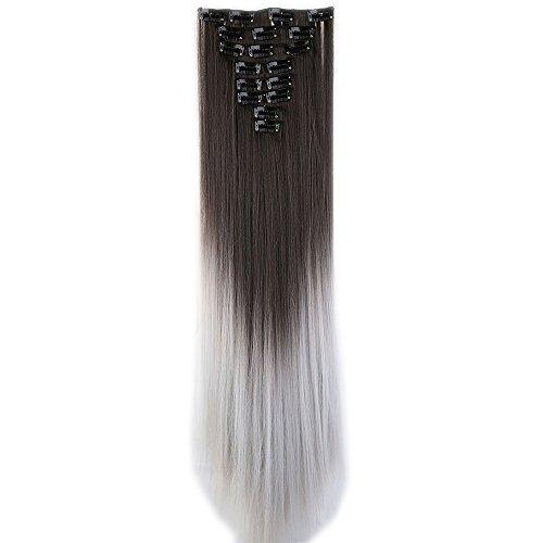 Clip in Extensions wie Echthaar Dunkelbraun/grau Haarteile Clips Haarverlängerung 8 Tresssen günstig Haar Extensions Glatt 26