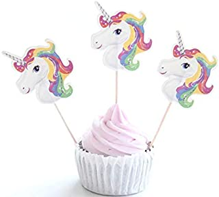 24 Pcs/lot Unicorn Party Cupcake Topper Happy Birthday Party Baby Shower Children Party Decor Kids cake Decor Supplies