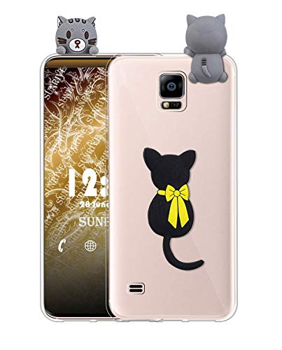 Sunrive Cover per Samsung Galaxy S5 Mini, Custodia 3D Case in Molle Trasparente TPU Silicone Morbida Flessibile AntiGraffio Protettiva Protector Back custodie Bumper(W1 Gatto)