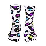 ZVEZVI Bunte rosa lila lila blau neongrün Leoparden Socken für Männer Frauen Jungen Mädchen Unisex Medium Strümpfe Socken 40 cm