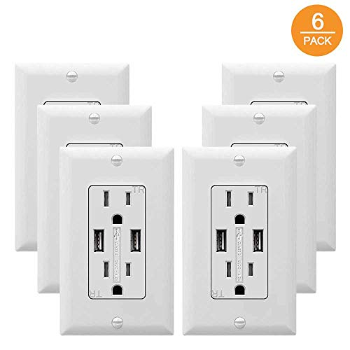 SZICT USB Outlet Receptacle, UL-listed 4.2A TR Ultra-fast USB Charging Receptacle 2 USB Ports Receptacle Charger, 15A Wall Receptacle Outlet with Wall Plate, White 6 PACK