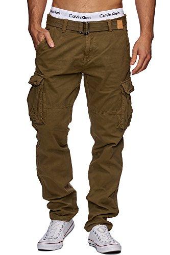 Indicode Herren William Cargohose aus Baumwolle m. 7 Taschen inkl. Gürtel | Lange Regular Fit Cargo Hose Baumwollhose Freizeithose Wanderhose Trekkinghose Outdoorhose für Männer Army L