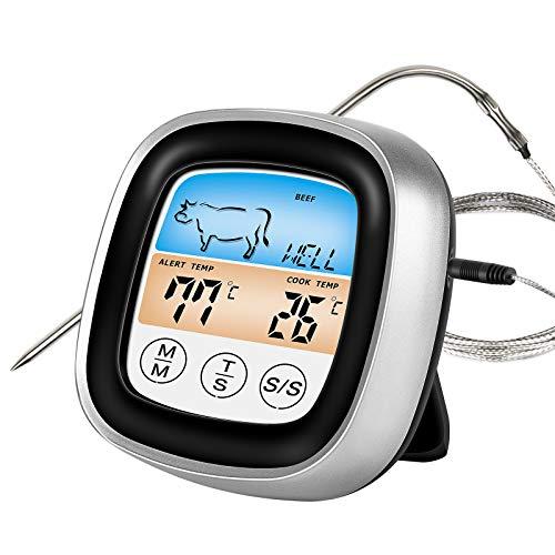 IREENUO Digital Fleischthermometer, Bratenthermometer Sofort Lesen Grillthermometer mit LCD Display, Küchenthermometer für Küche, Grill, BBQ, Steak