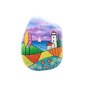Abstrakte Landschaft, Bemalter Stein, Naive Kunst, Leuchtturm Landschaft, Bemalter Leuchtturm