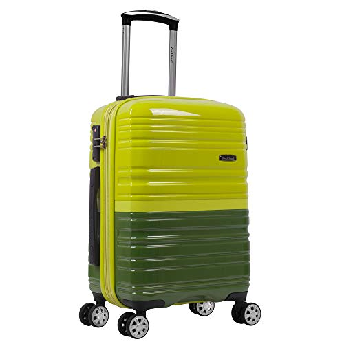 Rockland Melbourne Hardside Expandable Spinner Wheel Luggage, Two Tone Green, Carry-On 20-Inch