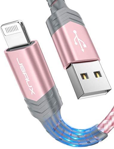 JSAUX Cavo Lightning 1.8M/6ft, [Certificato MFi] Caricatore Cavo iPhone di Nylon Compatibile con Apple iPhone 11/X/XS/XS Max/XR/8/8 Plus/7/7 Plus/6s/6s Plus/6/6 Plus/5c/5s/5/SE, iPad, iPod - Rosa