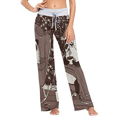 Pandas In Armchair Brown Print Damen Pyjama Bottoms Nachtwäsche Loose Palazzo Casual Drawstring Yoga Pants-L