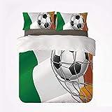 Popun Juego de Funda nórdica Juego de 3 sábanas irlandesas duraderas, Pelota de fútbol con Tema Deportivo en una Red, Objetivo con la Victoria de la Bandera Nacional de Irlanda para Interiores