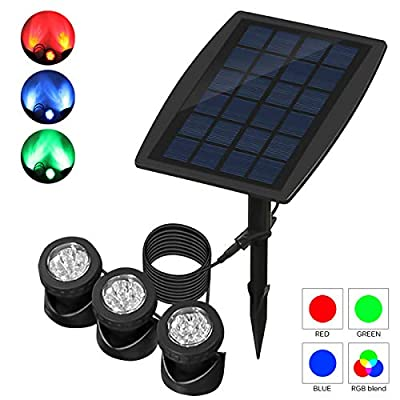 ABEDOE Set of 3 Solar Powered Outdoor Spotlight RGB Color Changing Waterproof Underwater Submersible Lamps