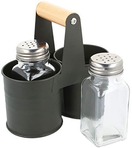 com-four® 3-teiliges Gewürzstreuer Set aus Glas - Salz und Pfeffer mit passender Halterung aus Metall (01 Stück - Mit Halterung)