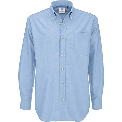B&C Long Sleeve Shirt Chemise Business, Bleu (Oxford Blue 000), 19 (Taille Fabricant: XXX-Large) Homme