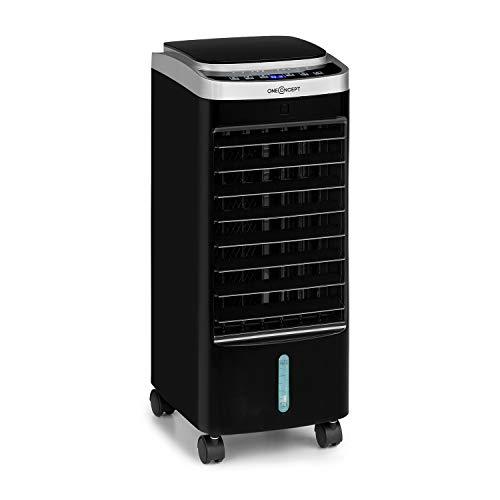 oneConcept Freshboxx PRO - Raffrescatore Evaporativo, Ventilatore, Umidificatore 3in1, 65 W, 966 m³/h, 3 velocità, Serbatoio: 5 L, Oscillazione: 120°, Flusso d'Aria Verticale Manuale, Nero