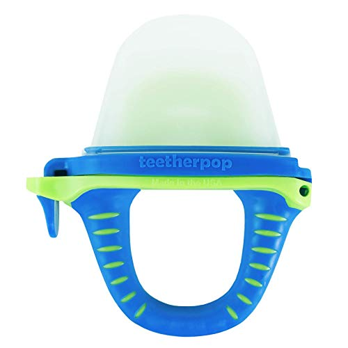 teetherpop Fillable, Freezable Baby Teether for Breastmilk, Purees, Water, Smoothies, Juice & More (BlueLime)
